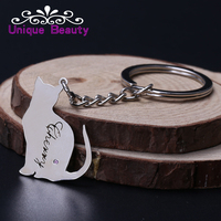 Wholesale Elegant Cat Keychain Custom Name Hollow Cut Name Key Chain Choose Birthstone Personalized 925 Solid