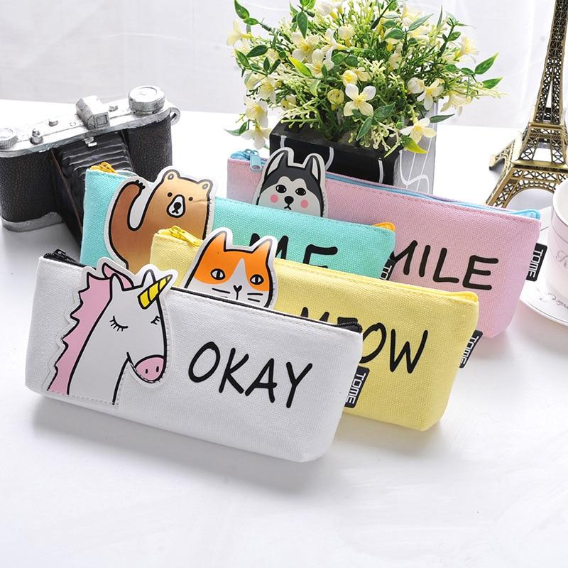Animal Pencil Case Fabric School Supplies Bts Stationery Gift  School Cute Pencil Box Pencilcase Pencil Bag School Supply Tool