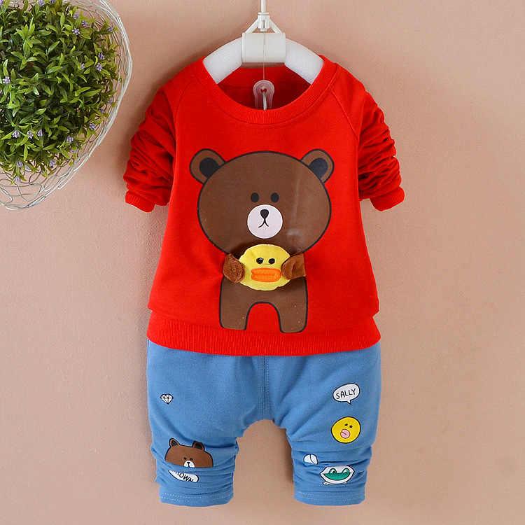 תינוק בגדי 2018 Cartoon דובים ארוכים צמרות חולצה עם שרוולים + מכנסיים תלבושות תינוקת בגדים לילדים תינוק Bebes ריצה חליפות