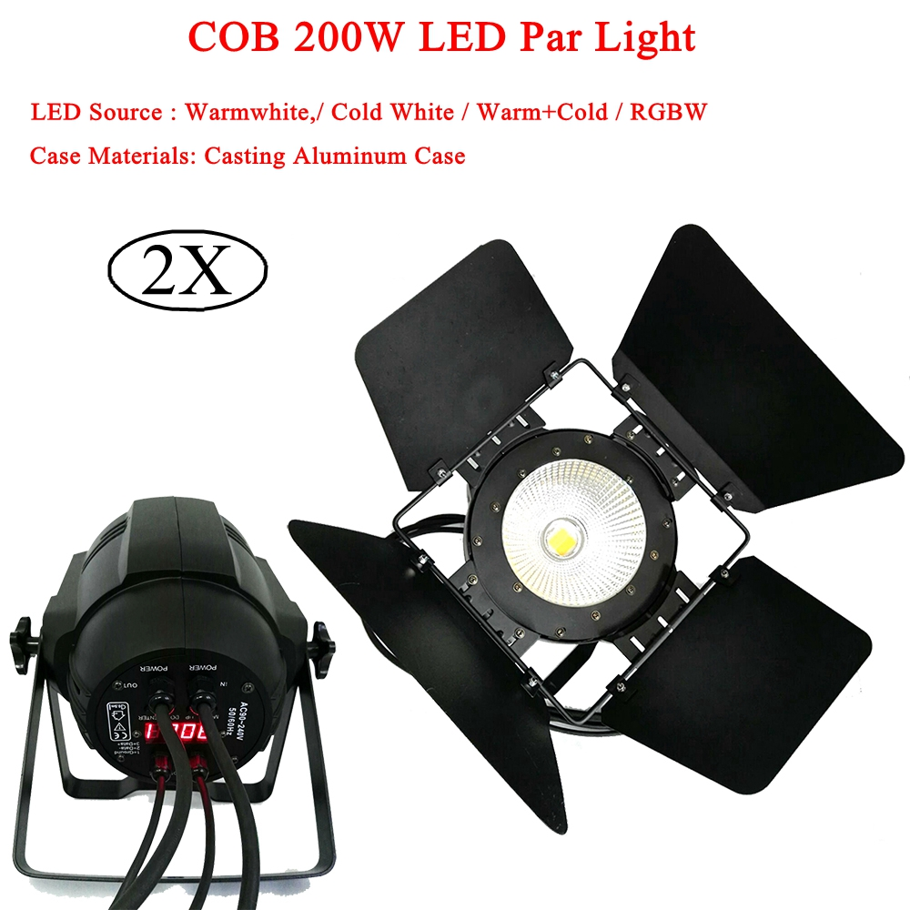 DJ Stage Lightings Disco LED Light 200W LED Par Lights COB Cool and Warm White / With Barn Doors Aluminium Case Stage Lighting led par cob 200w only violet strobe stage light high power dmx512 light aluminium case stage lighting dj equipment