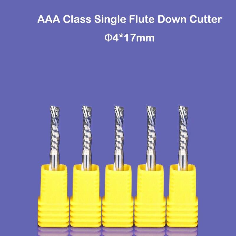 5 pz 4x17mm singolo flauto verso il basso-cut a spirale frese, mano sinistra po 'di taglio per la plastica, pvc, acrilico, MDF, Alluminio lavorazione del legno bit