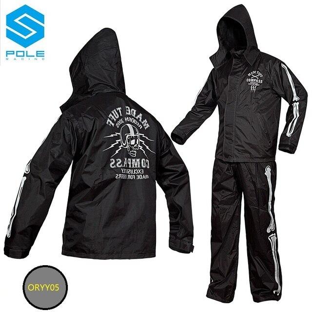 Skull Motorcycle Rain Suit Black motorbike Rain Gear Pole moto raincoat suit  outdoor fishing riding rain wear against heavy rain e2839908feab