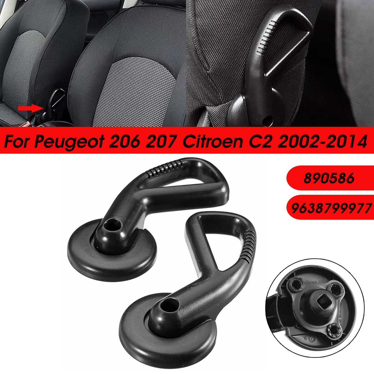 Car Left Right Armrest Handle Seat Adjuster Knob Adjust Lever 9638799977 890586 For Peugeot 206 207 For Citroen C2
