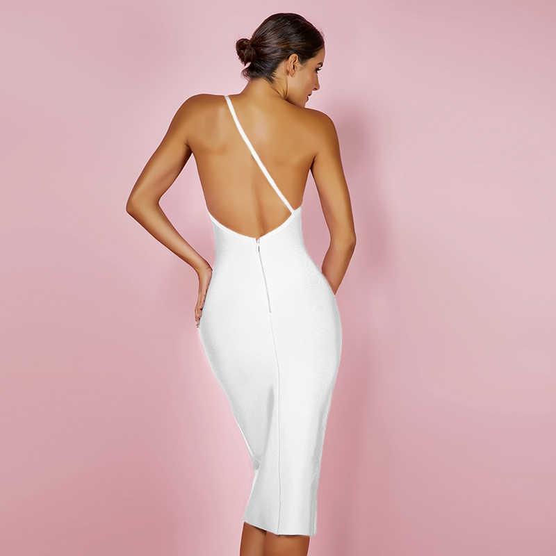 Cerf dame femmes Bandage robe 2019 été une épaule Sexy Bandage robe Midi noir dos nu moulante Bandage blanc robe XL