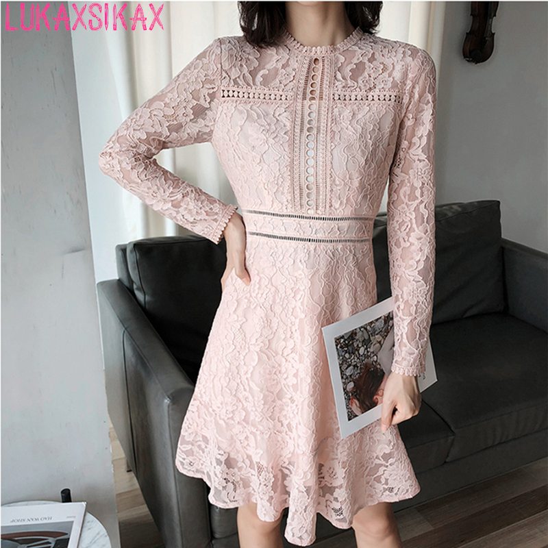 3f6d22dbf0 LUKAXSIKAX Fashion Designer 2018 Autumn Women Long Sleeve Slim Mini Dress  High Quality Hollow Out Pink