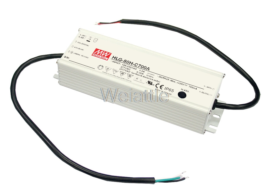MEAN WELL original HLG-80H-12D 12V 5A meanwell HLG-80H 12V 60W Single Output LED Driver Power Supply D type