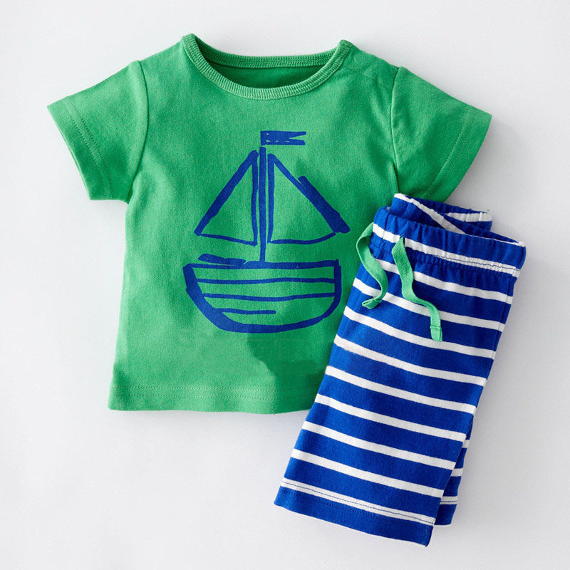 Summer Kids Boys Tracksuit Children Clothing Cotton Short Sleeves T-shirt+Shorts 2pcs Baby Suit Toddler Boy Clothes 0-5T BC1093