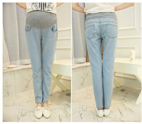 2015 nova marca primavera e verão Haroun calças abdômen calças luz azul magros mulheres grávidas leggings maternidade calças de brim