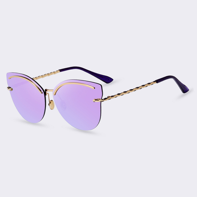 f8874d0ff1 AOFLY Rimless Sunglasses Women Pink Mirror Reflective Sun Glasses ...