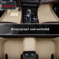 Top Quality 3d Black Brown Leather Car Floor Mats Foot Pads For Durable Waterproof Carpets 3d