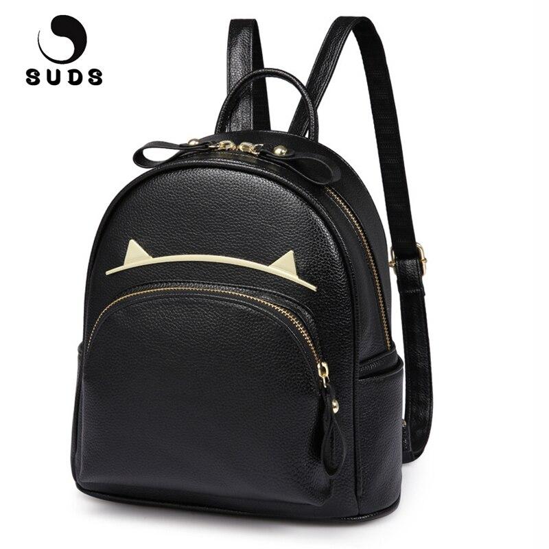 SUDS Brand Women Bag PU Leather Backpacks Teenage Girls Black School Bags Preppy Style Cat Ears Student Small Travel Backpacks