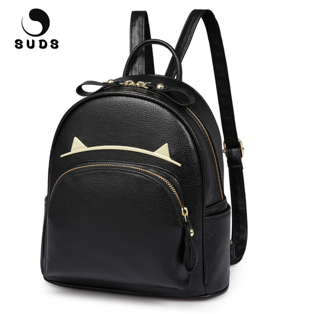 acd45931d3 SUDS Brand Women Bag PU Leather Backpacks Teenage Girls Black School Bags  Preppy Style Cat Ears Student Small Travel Backpacks