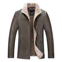 mens parka Plus 8XL 6XL 5XL 4X Black male Fur collar Leather jackets Jacket men men's Winter skin Coat mens leather jacket