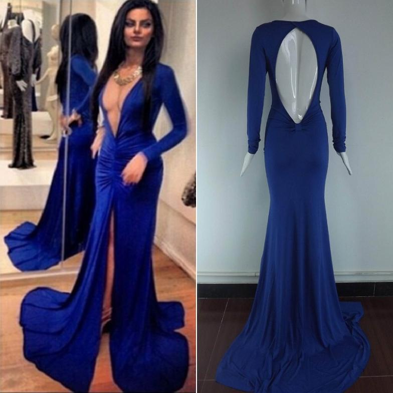 1b440758efaf Women Long Sleeve Deep V neck Navy Blue Bandage Evening Party Maxi ...