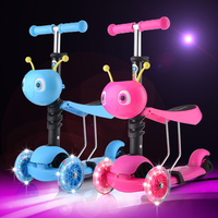 Children S Scooter 3 Round 4 Wheel Flash Pedal Multi Function Baby Walkers Triad Scooter