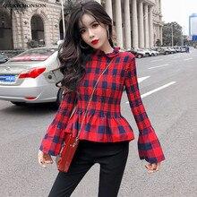 Kawaii Frill Collar Ladies Peplum Tops Spring Autumn Korean Fashion Women Flare Sleeve Plaid Shirt Drape Design Fitness Blouses