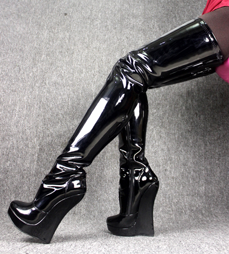 2016 New Fashion Style High Heel 18Cm Wedges Thigh High Boot Sexy -1860
