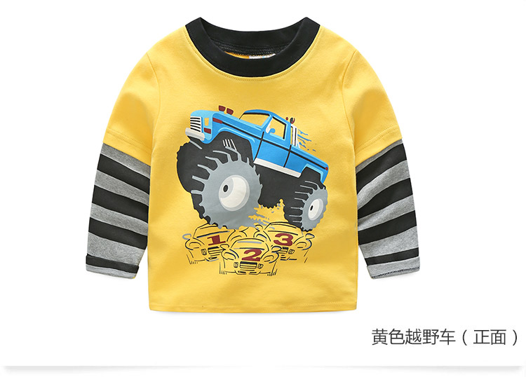 2018 Spring Autumn For 2-9 10 Years Children Cotton Striped Patchwork Cartoon Car Bus Truck Baby Kids Boys Long Sleeve T Shirts (35)
