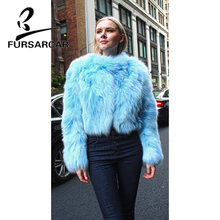FURSARCAR Short Style Natural Real Fur Coat For Women Winter New Fox Jacket O-Neck Genuine Leather Luxury