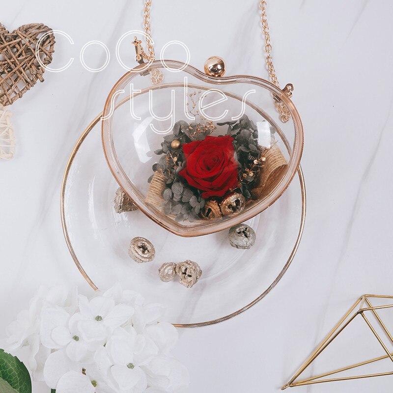 Cocostyles personnalisé blanc luxe coeur forme acrylique fleur sac pour mode mariée mariage fleur cadeau sac