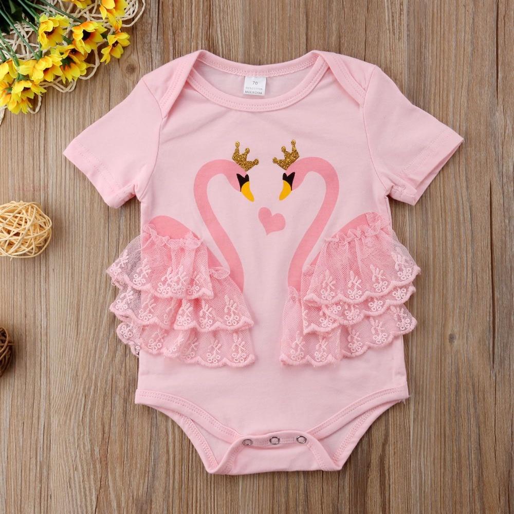 Baby Baby meisjes doek Lace Swan Romper 2 kleuren Cartoon Print - Babykleding - Foto 5