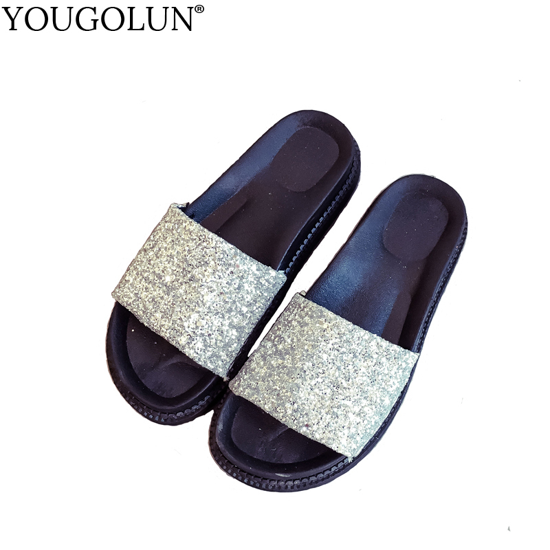 YOUGOLUN Women Slippers Summer Bling Sandals Sexy Woman Flat Sandal Elegant ladies Silver Black Pink Open toe Shoes #A-134 phyanic 2017 gladiator sandals gold silver shoes woman summer platform wedges glitters creepers casual women shoes phy3323