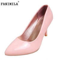 Plus Size 31 45 Fashion 7 Candy Colors Women Thin High Heel Shoes Ladies Sexy Pointed