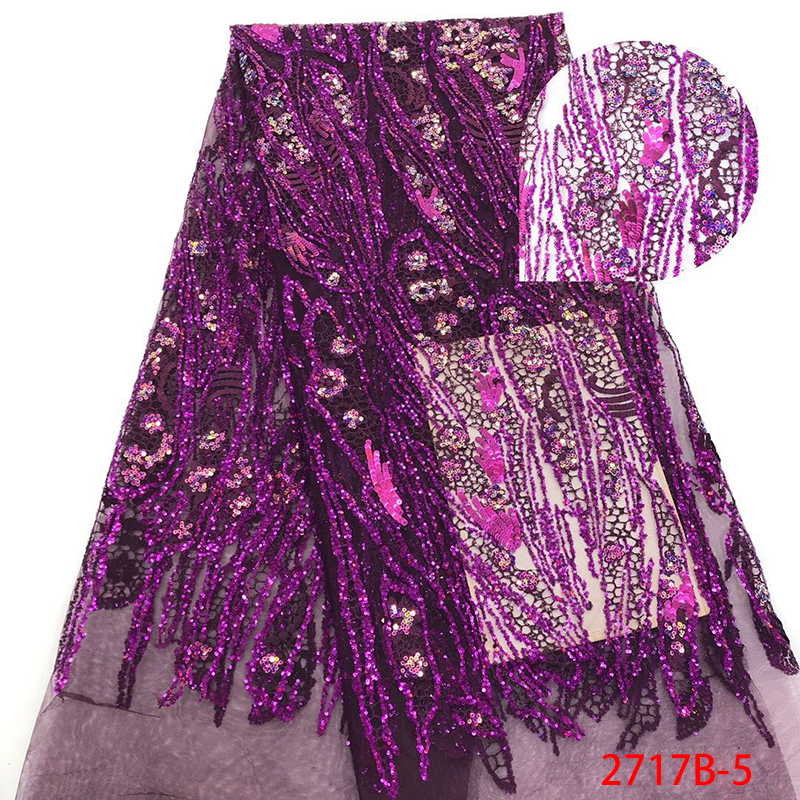 Newest Africa Organza Lace Fabric High Quality Sequin Nigerian Fabric Lace African Tulle Laces Fabrics KS2717B-5