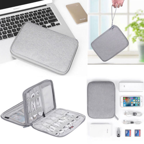 Electronic Accessories Storage USB Cable Organizer Bag Case Drive Travel Insert Charger Cable Case Carrier Travel Cable Bag