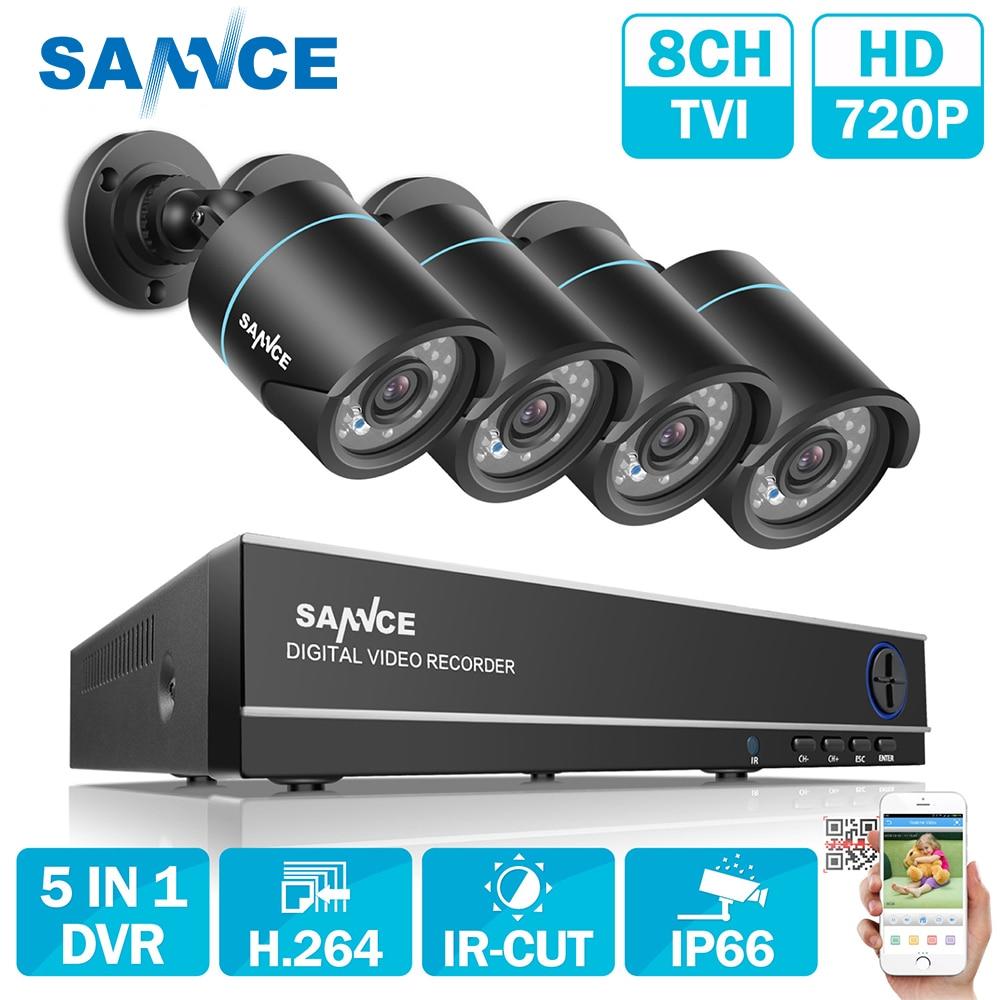 SANNCE 8-КАНАЛЬНЫЙ ВИДЕОНАБЛЮДЕНИЯ Системы Безопасности 4 ШТ. 720 P Всепогодный Ночного Видения Ик CCTV Камеры Видеонаблюдения Комплект Для RU Со