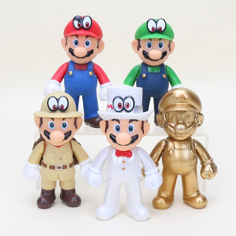 12cm Super Mario Figures Toys Gold Mario Odyssey Wedding Groom PVC