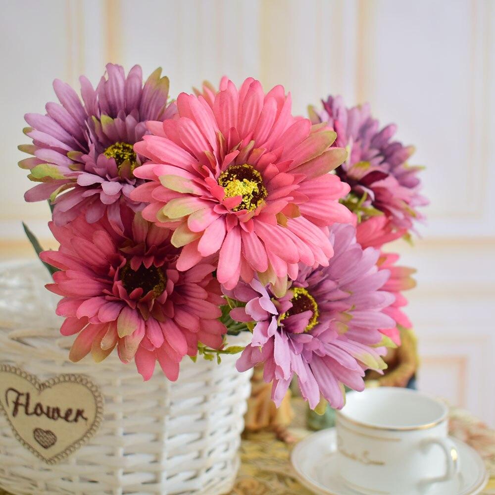 f34483ae166d21 Fleur artificielle gerbera de soie pour la maison à manger table de ...