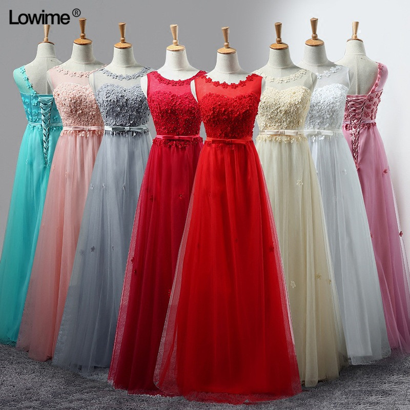 Hot In Stock A Line Scoop Bridesmaid Dresses Long vestidos Dresses For Wedding Party Floor Length