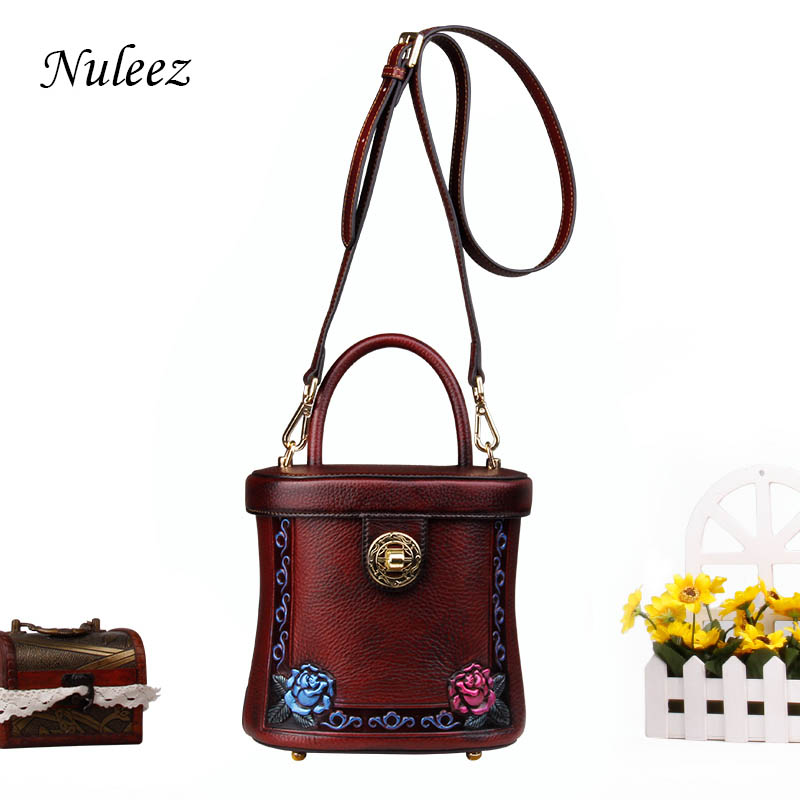Nuleez cowhide bucket women tote 3D hand-carved floral pattern luxury vintage cross-body bag for ladies 2018 autumme stylish letter applique fries pattern bucket hat for women