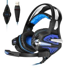 USB Gaming Headset - with 7.1 Surround Stereo Sound Microphone Vibration Effect Noise Isolation LED Light for PC Gamers PS4 Xbox цена и фото