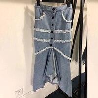 Роскошная брендовая юбка джинсовая Женская Асимметричная джинсовая юбка Женская Весенняя джинсовая пуговица для юбки женская юбка до щико