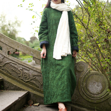 2016 Winter Dress Cotton-padded Women Dress Pullover Winter Outerwear Traditional Chinese Robe Manteau Femme Abrigos Y Chaquetas