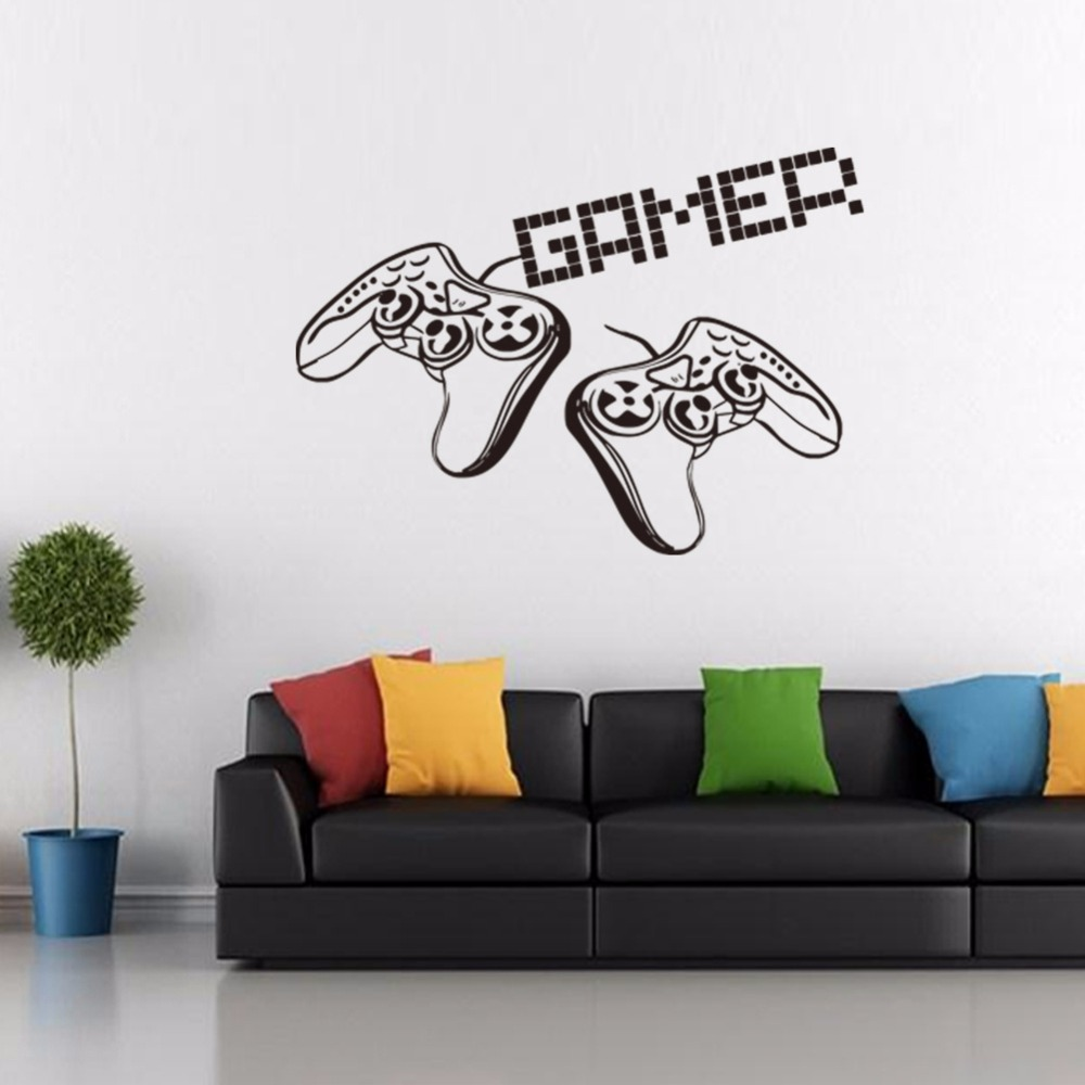 New game handle vinyl wall decal home decor living room diy ...