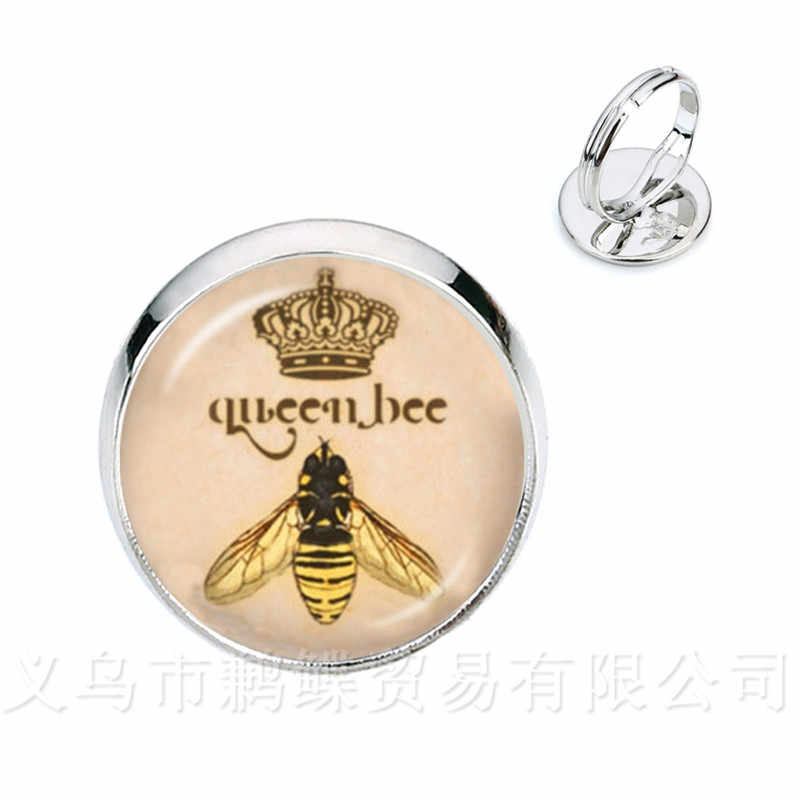 Сова/пчела узор классические кольца насекомое искусство картина стеклянный кабошонный купол серебро/Golder покрытием 2 цвета регулируемые кольца