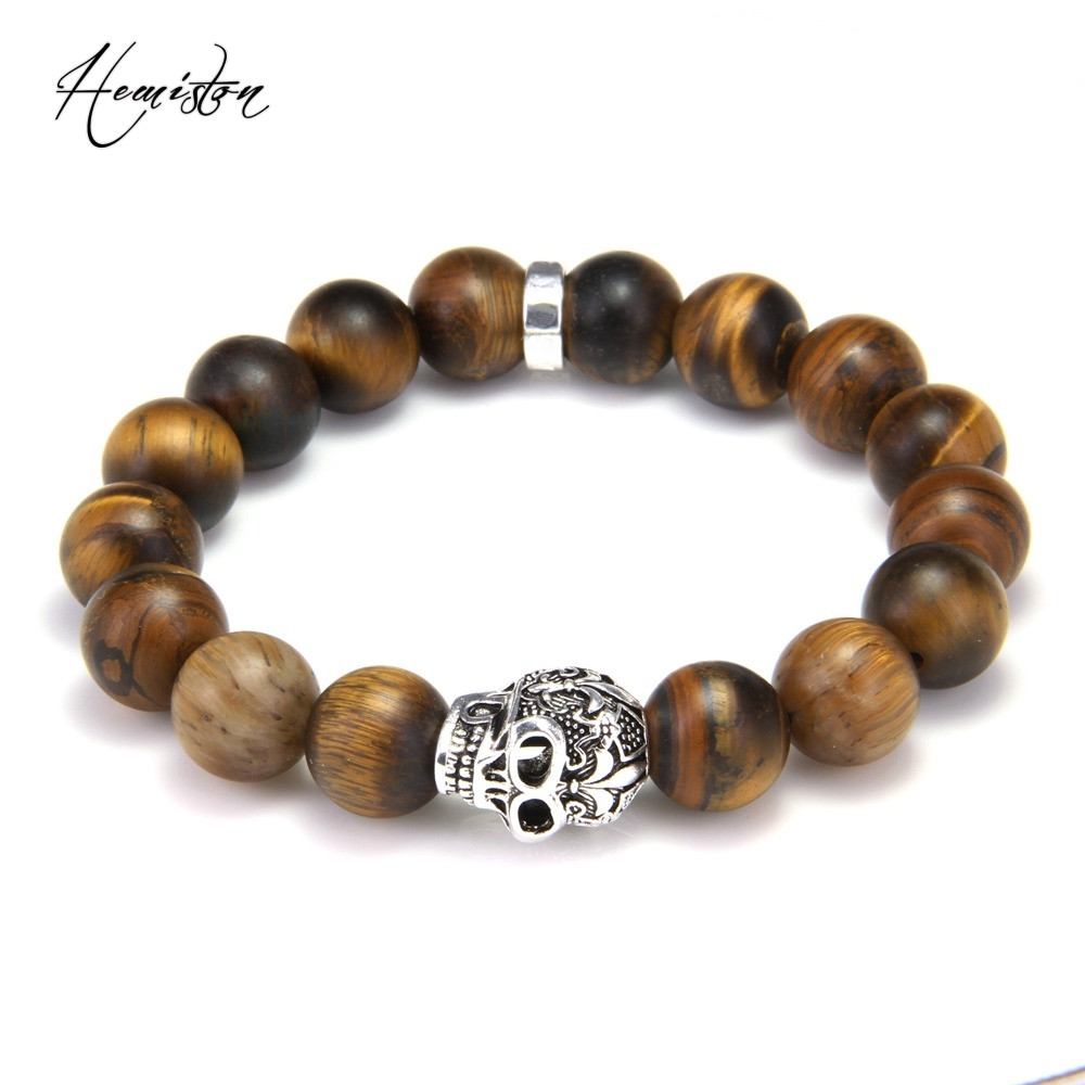 Thomas Style BIG MATT TIGER'S EYE BEAD AND SKULL with LILY DESIGN BEADS BRACELET, Rebel Heart Style Jewelry for Men TS B264