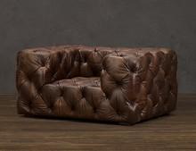Sala de estar / de madera de estilo europeo sofá / aceite de cera de cuero completo 1 plazas silla sofá chesterfield