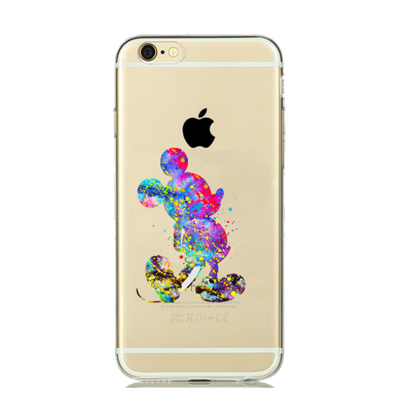 Colorful Watercolor Silicone Case for capinhas iphone 6 7 Plus 5 5s 6s Snow  white Cinderella Tinker bell Mermaid Clear Case Para-in Half-wrapped Case  from ... 5b3dfcf97d4