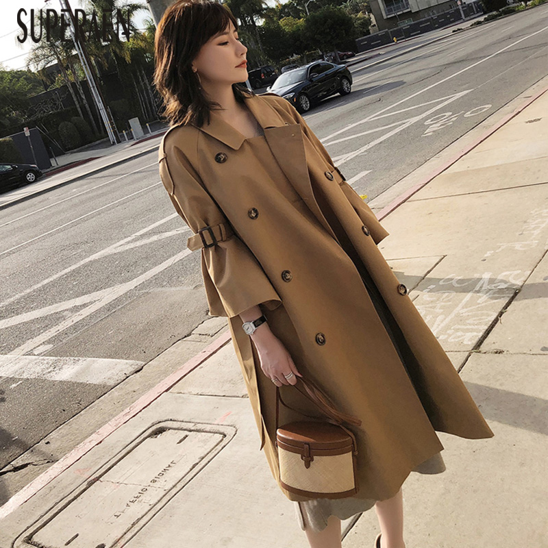 SuperAen 2018 Spring and Autumn New Women Windbreaker Solid Color Cotton Casual   Trench   Coat for Women Loose Double-breasted Coat