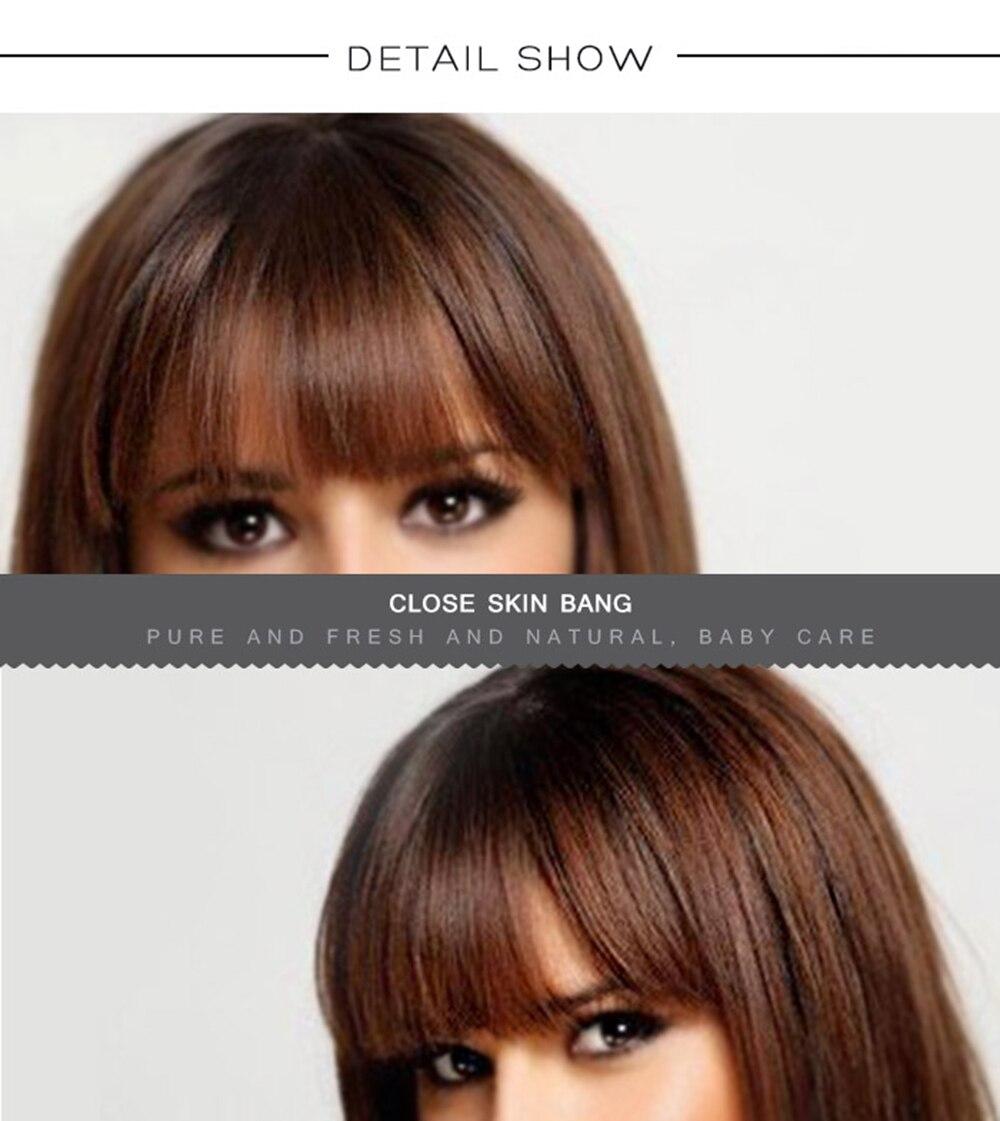 ESIN Женские смешанные парики 70% натуральные+30% синтетические волосы Длинный парик прямые волосы 40 см Прямая ровная челка, эффект естественной стильной небрежности Дышащая эластичная шапочка