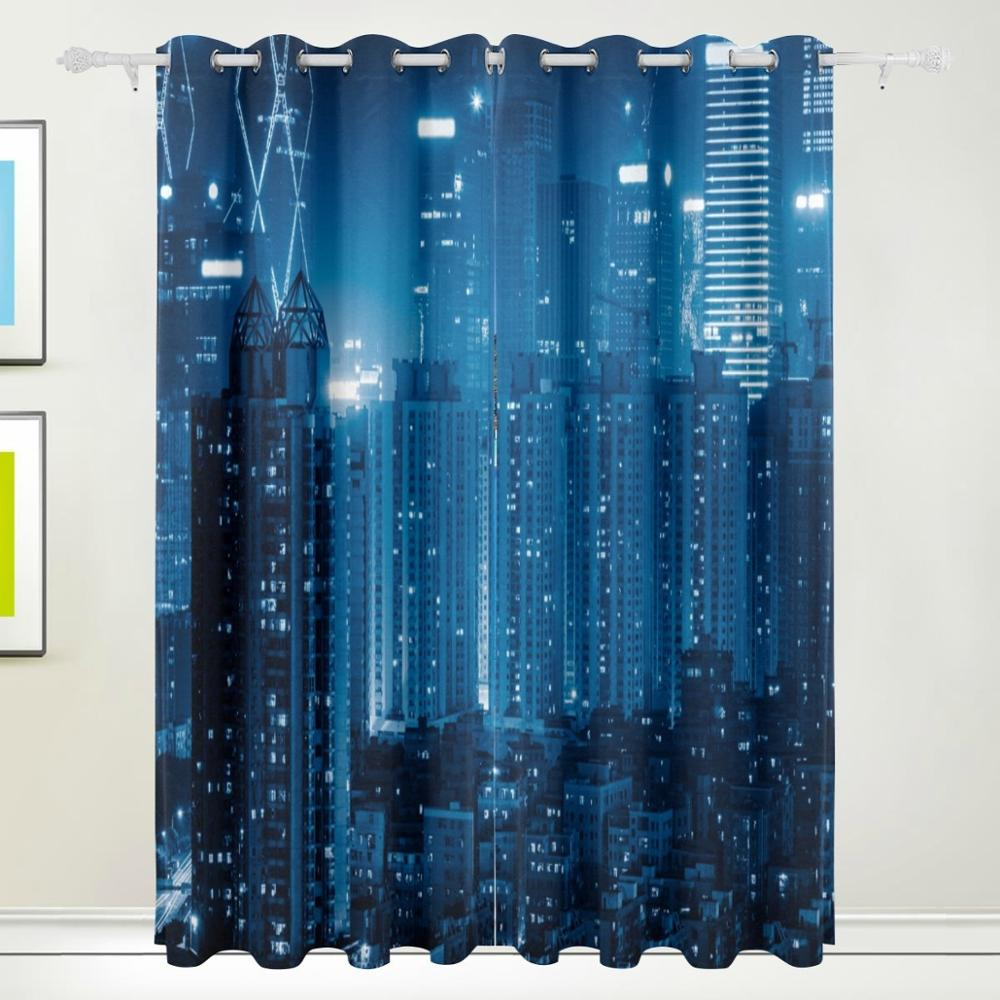 Ity skyline 3d abstract curtains drapes panels darkening Blackout curtains city skyline