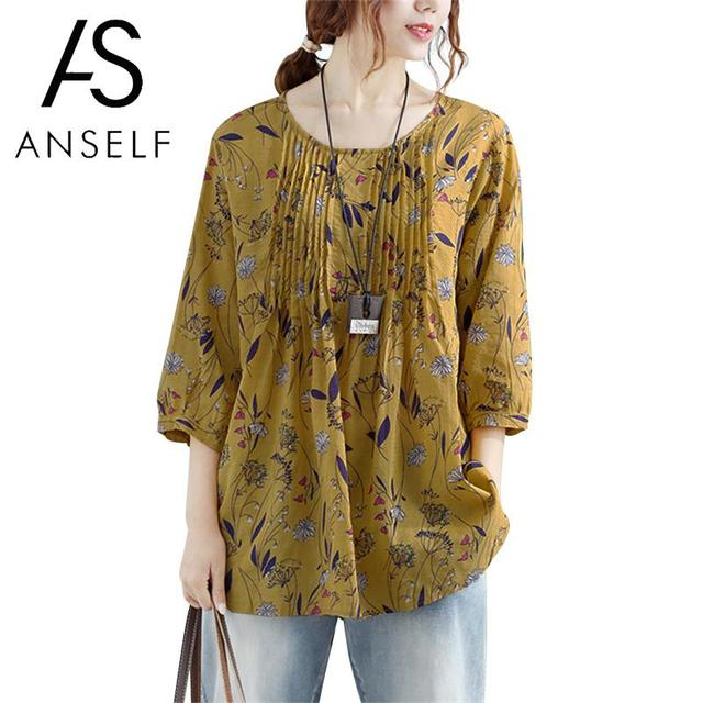 Vintage Cotton Tunics Womens Tops and Blouses Floral Print O-Neck 3/4 Sleeve Casual Loose Shirt Tee Tops Plus Size 3XL 4XL 5XL