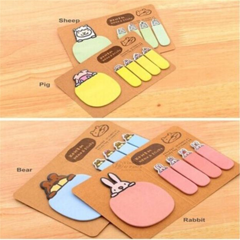 Convenience stickers Cute Animal Kraft Paper Mini Sticky 4 Styles Notes Memo Pad Gift Stationery u6930