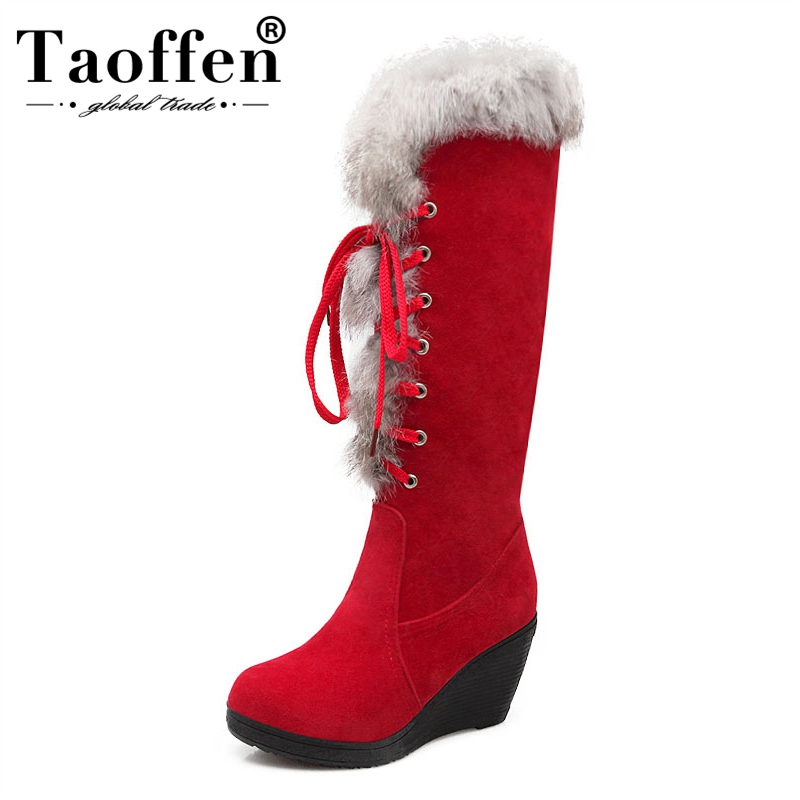 TAOFFEN 4 Colors Women Knee Wedges Boots Cross Strap Thick Fur Boots Warm Shoe Winter Cold