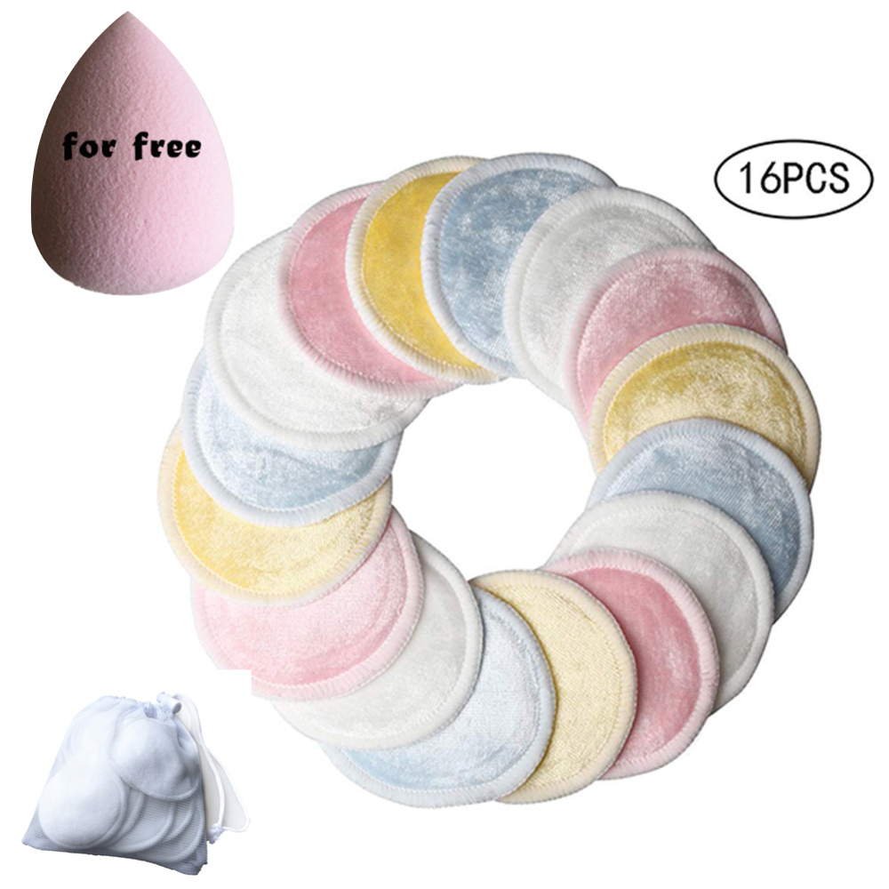 18pcs Reusable 3 Layers Makeup Remover Pads Washable Facial Cleansing Pad 1 pcs Powder Puff with Laundry Bag in Cosmetic Puff from Beauty Health