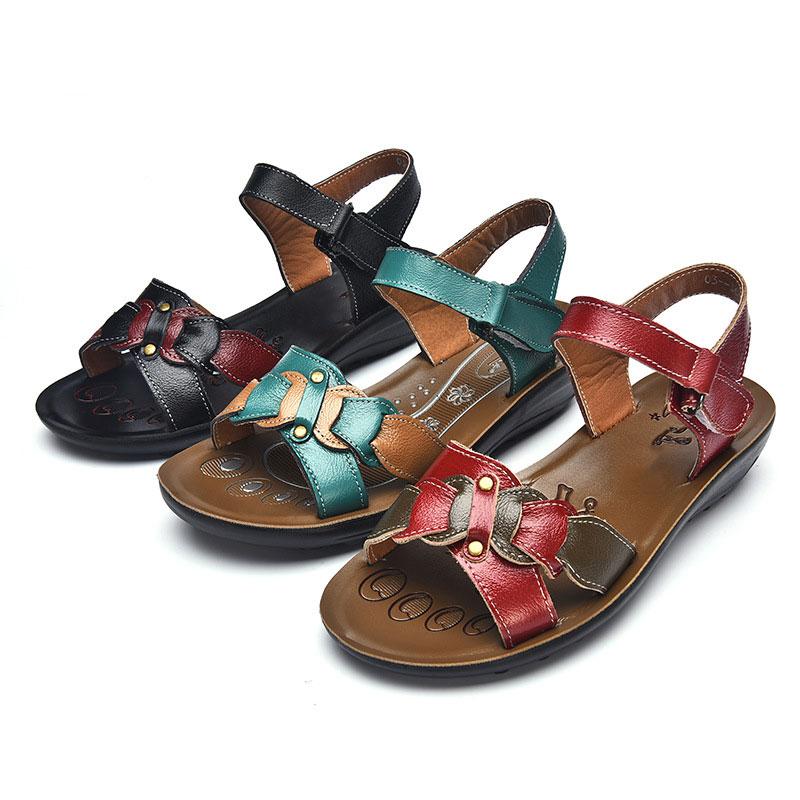 Casual Genuine Leather Sandals Women Wedge Sandals Platform Summer Shoes Ladies Sandalias Beach Shoes Chaussures Femme Size 43